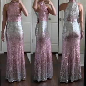 NWT Vince Camuto silver pink ombré sequin dress
